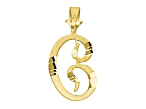 10k Yellow Gold Diamond-Cut Grooved initial C Charm