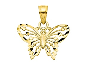 10k Yellow Gold Diamond-Cut Butterfly Charm