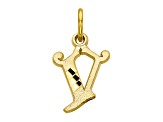 10k Yellow Gold initial V Charm