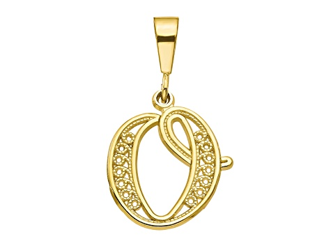 10k Yellow Gold Script initial O Charm
