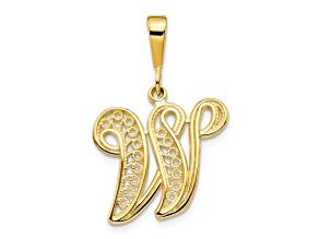 10k Yellow Gold Script initial W Charm
