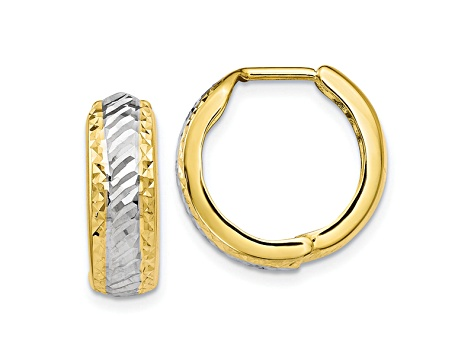 10k Yellow Gold With White Rhodium Polished And Diamond-Cut Hoop Earrings