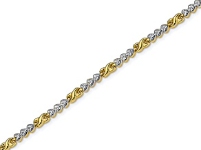 10k Yellow Gold With Rhodium Diamond-Cut infinity & Heart Bracelet