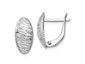 10k White Gold Polished And Textured Leverback Earrings