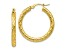 10k Yellow Gold Polished And Textured Hinged Hoop Earrings