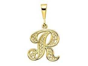 10k Yellow Gold Script initial R Charm