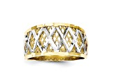 10k Yellow Gold & Rhodium Diamond-Cut Filigree Ring