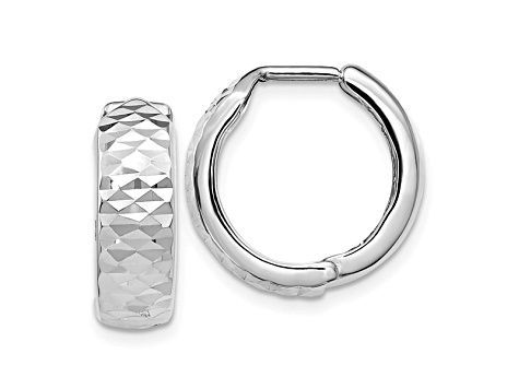 10k White Gold Polished And Diamond-Cut Hoop Earrings
