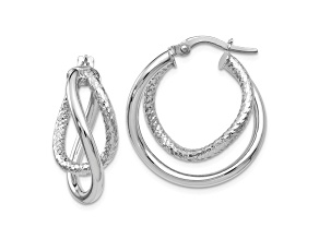 10k White Gold Polished And Textured Fancy Hoop Earrings