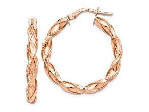 10k Rose Gold Polished Twisted Hoop Earrings