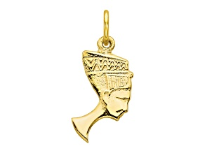 10k Yellow Gold Solid Bust Of Nefertiti Charm