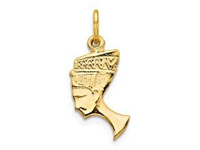 10k Yellow Gold Solid Bust Of Nefertiti Charm