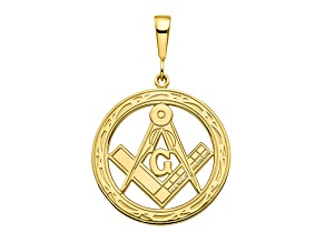 10k Yellow Gold Solid Masonic Symbol Charm
