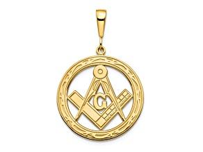 10k Yellow Gold Solid Masonic Symbol Charm