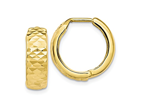 10k Yellow Gold Polished And Diamond-Cut Hinged Hoop Earrings