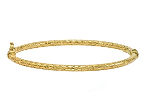 10k Yellow Gold Polished And Textured Hinged Bangle