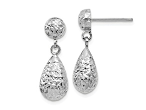 10k White Gold Diamond-Cut Post Dangle Earrings
