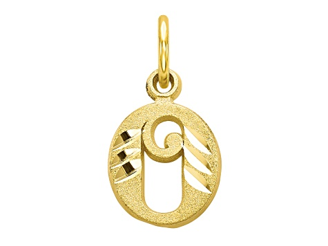 10k Yellow Gold initial O Charm