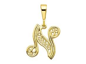 10k Yellow Gold Script initial N Charm