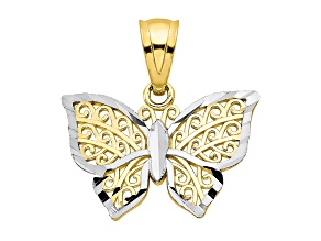 10k Yellow Gold & Rhodium Butterfly Charm
