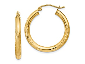 10k Yellow Gold Satin & Diamond-Cut 3mm Round Hoop Earrings