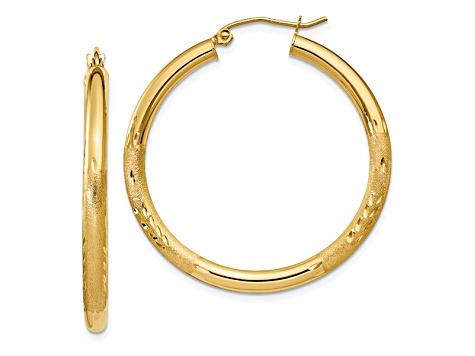 10KT GOLD LIGHT WEIGHT DIAMOND CUT HOOP EARRINGS HOOP EARRINGS