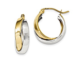 10k Two-Tone Polished Double Hoop Earrings