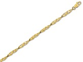 10k Yellow Gold Solid Polished Open Back Flower & Leaf Bracelet