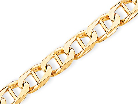 10k Yellow Gold 10.3mm Hand-Polished Mariner Link Bracelet