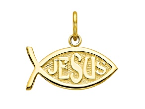 10k Yellow Gold Jesus Fish Charm