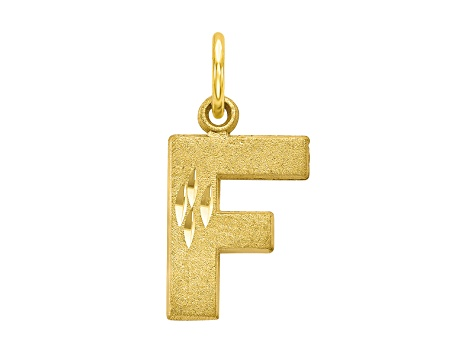 10k Yellow Gold initial F Charm