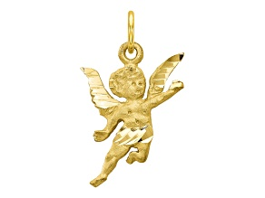 10k Yellow Gold Solid Satin Angel Charm