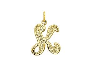 10k Yellow Gold Script initial K Charm