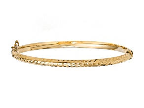 10k Yellow Gold Polished Diamond-Cut Hinged Bangle Bracelet