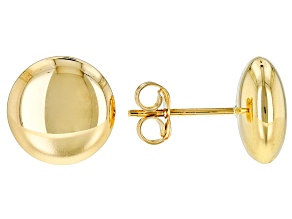 10k Yellow Gold Polished Button Post Earrings