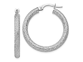 10k White Gold Polished And Textured Hinged Hoop Earrings