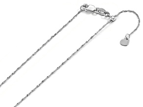 10k White Gold 1mm Adjustable Singapore Chain 22 inches