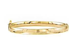 10k Yellow Gold 5.9mm Bangle Bracelet 7 inches