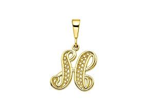 10k Yellow Gold Script initial H Charm