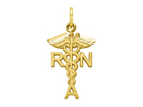 10k Yellow Gold Solid Registered Nurse Charm