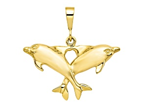 10k Yellow Gold Solid Polished Twin Dolphins Charm