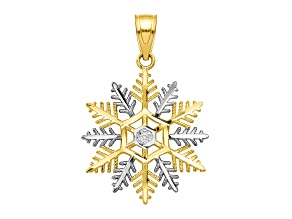 10k Yellow Gold & Rhodium Snowflake Charm