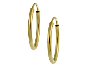 14k Yellow Gold .75mm X 10mm High Polish  Endless Hoop Earrings    Hollow Center