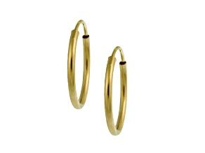 14k Yellow Gold .78mm X 18mm High Polish Endless Tube Hoop Earrings
