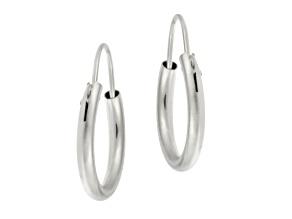 14k White Gold .41mm X 11mm Mini Hoop Earrings