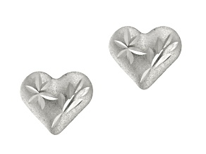 14k White Gold Mini Diamond Cut Heart Stud Earrings