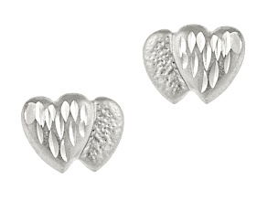 14k White Gold Diamond Cut Mini Double Heart Stud Earrings    Hollow Center