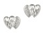 14k White Gold Diamond Cut Mini Double Heart Stud Earrings    Hollow Center