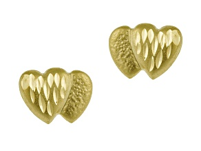 14k Yellow Gold Diamond Cut Mini Double Heart Stud Earrings      Hollow Center