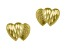 14k Yellow Gold Diamond Cut Mini Double Heart Stud Earrings      Hollow Center
